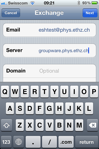 iPhone Exchange fill in Server